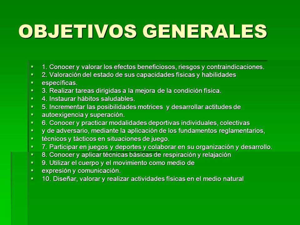 OBJETIVOS GENERALES 1. Conocer y valorar los efectos beneficiosos, riesgos y contraindicaciones.