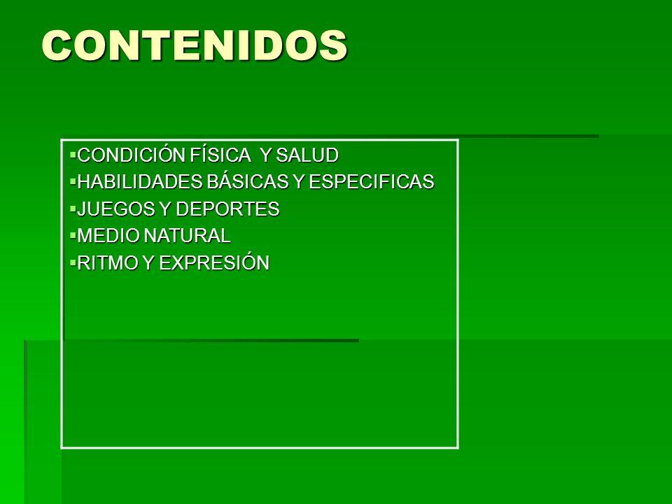 CONTENIDOS CONDICIÓN FÍSICA Y SALUD HABILIDADES BÁSICAS Y ESPECIFICAS