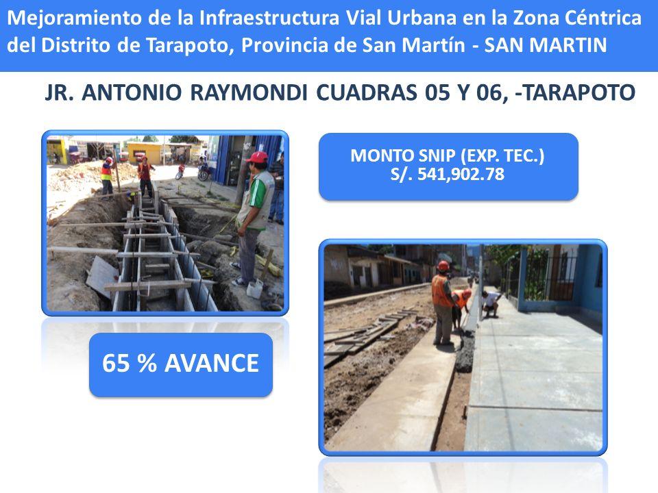 JR. ANTONIO RAYMONDI CUADRAS 05 Y 06, -TARAPOTO