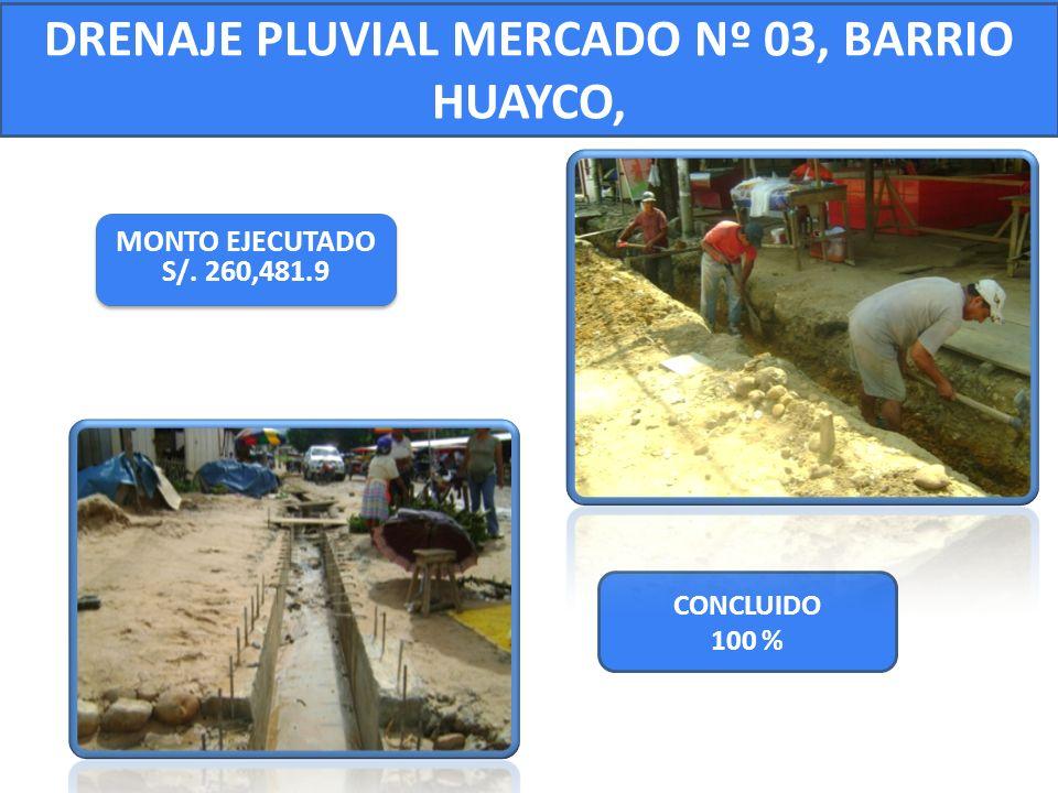 DRENAJE PLUVIAL MERCADO Nº 03, BARRIO HUAYCO,
