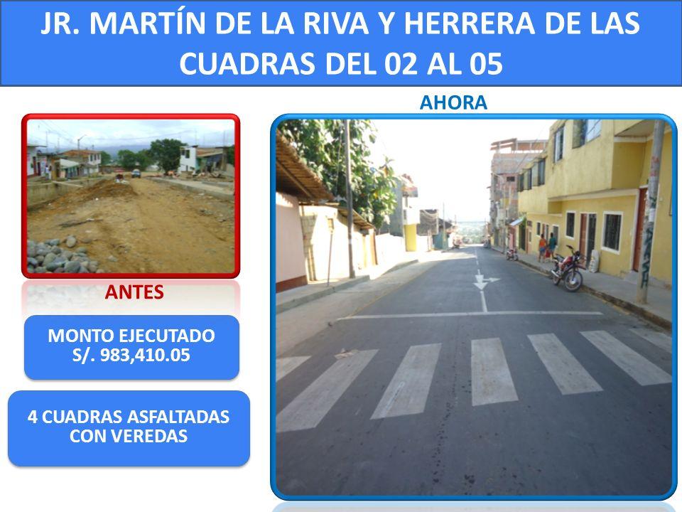 JR. MARTÍN DE LA RIVA Y HERRERA DE LAS CUADRAS DEL 02 AL 05