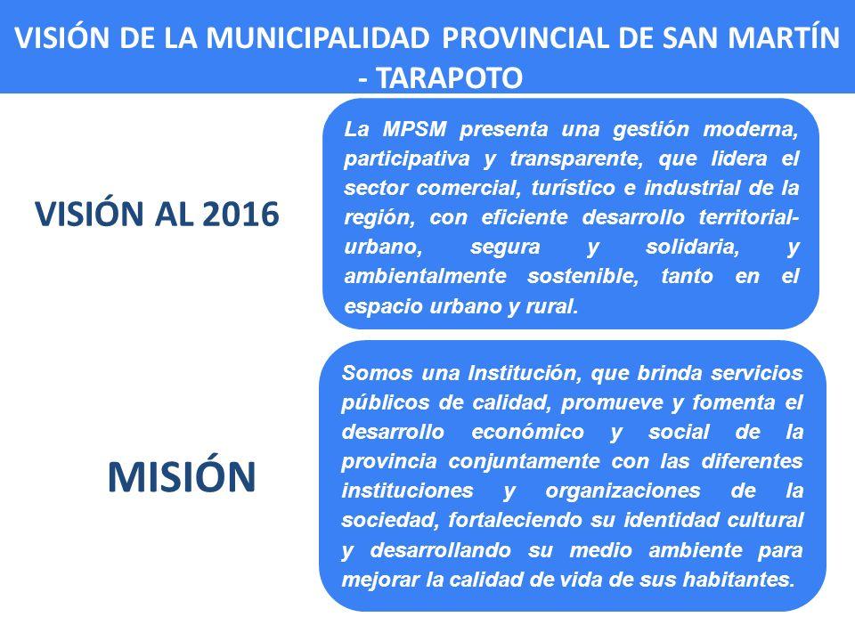 VISIÓN DE LA MUNICIPALIDAD PROVINCIAL DE SAN MARTÍN - TARAPOTO