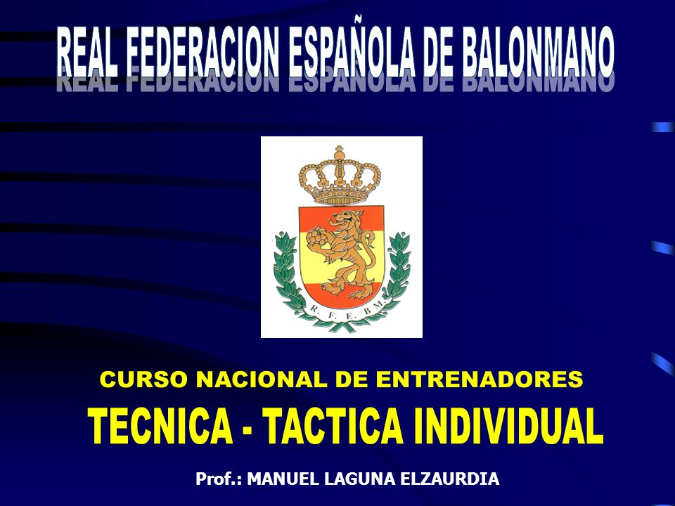 REAL FEDERACION ESPAÑOLA DE BALONMANO TECNICA - TACTICA INDIVIDUAL