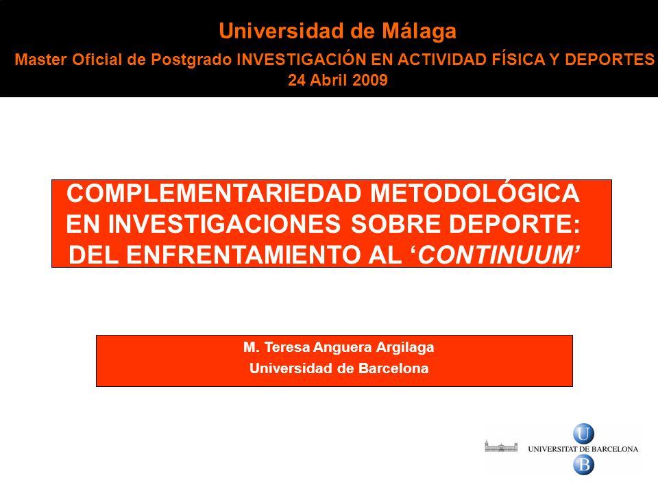 EN INVESTIGACIONES SOBRE DEPORTE: DEL ENFRENTAMIENTO AL 'CONTINUUM'