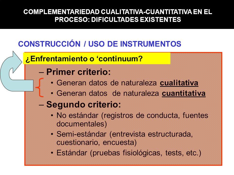 Primer criterio: Segundo criterio: CONSTRUCCIÓN / USO DE INSTRUMENTOS
