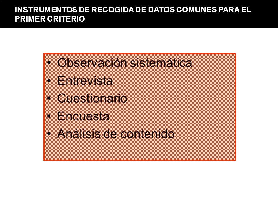 Observación sistemática Entrevista Cuestionario Encuesta