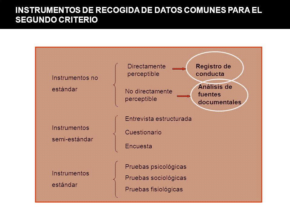 INSTRUMENTOS DE RECOGIDA DE DATOS COMUNES PARA EL SEGUNDO CRITERIO