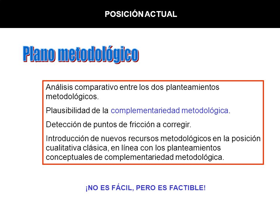 Plano metodológico POSICIÓN ACTUAL