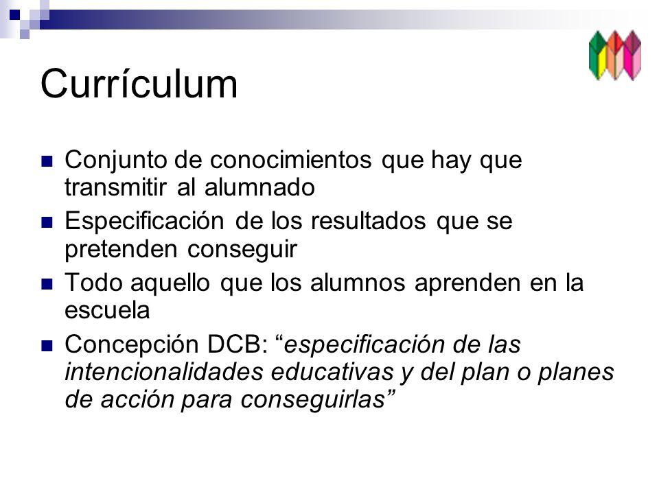 Currículum Conjunto de conocimientos que hay que transmitir al alumnado. Especificación de los resultados que se pretenden conseguir.