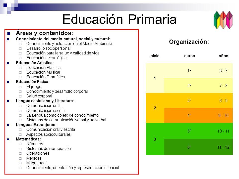 Educación Primaria Áreas y contenidos: Organización:
