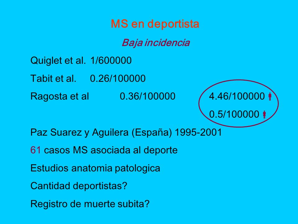 MS en deportista Baja incidencia Quiglet et al. 1/600000