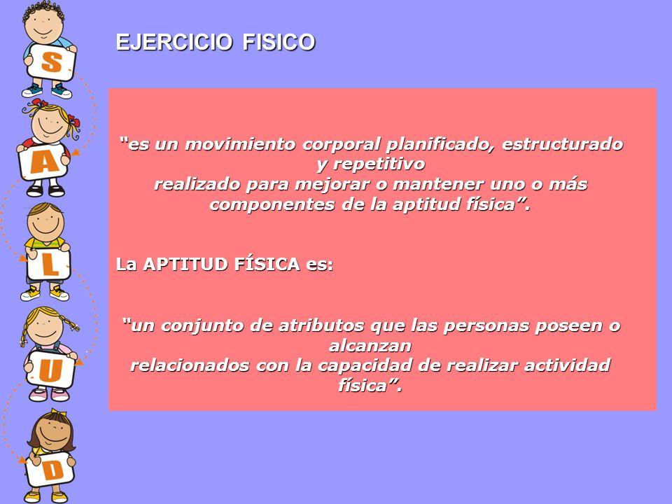EJERCICIO FISICO es un movimiento corporal planificado, estructurado y repetitivo.