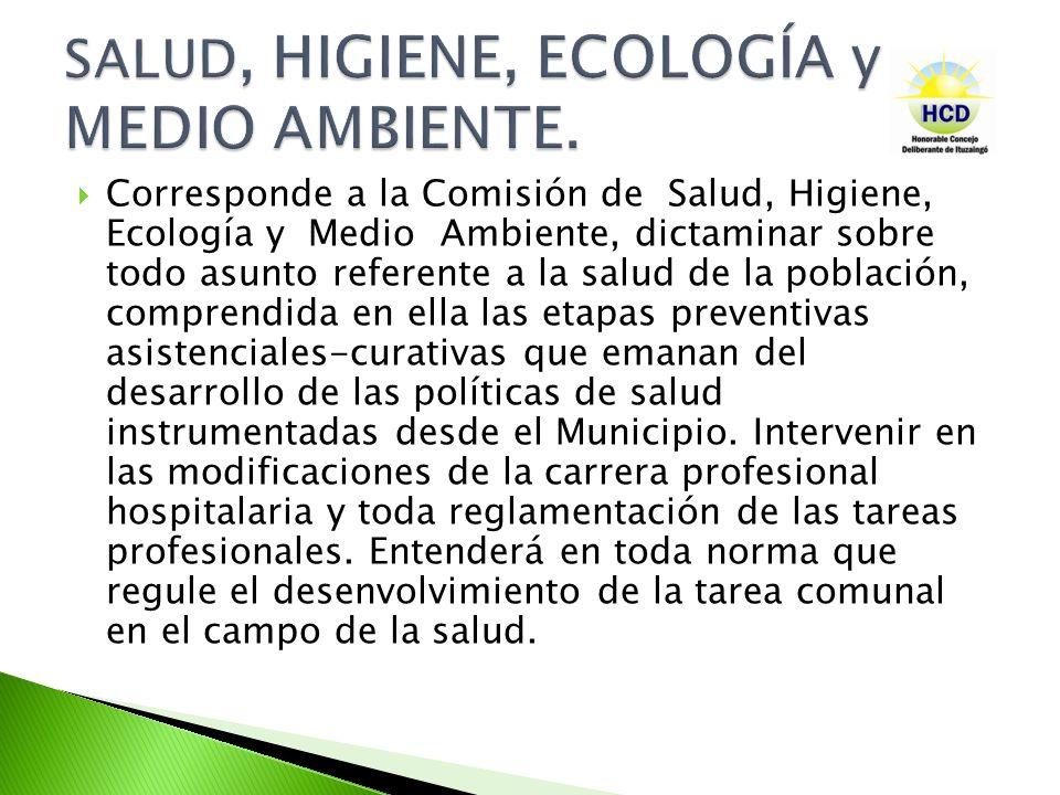 SALUD, HIGIENE, ECOLOGÍA y MEDIO AMBIENTE.