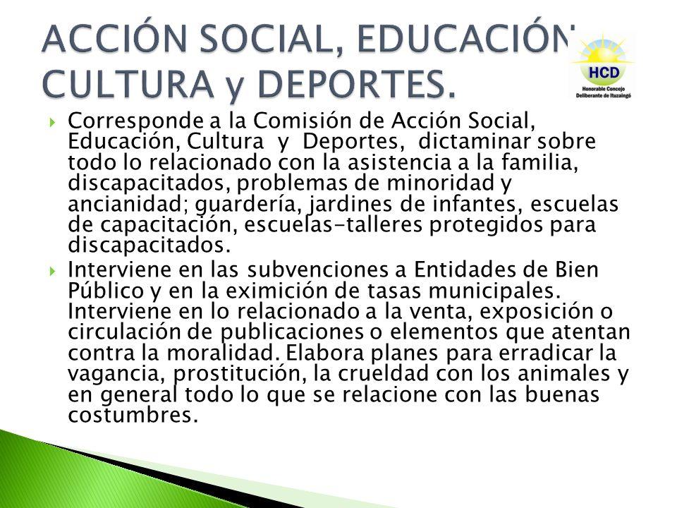 ACCIÓN SOCIAL, EDUCACIÓN, CULTURA y DEPORTES.