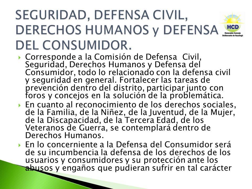 SEGURIDAD, DEFENSA CIVIL, DERECHOS HUMANOS y DEFENSA DEL CONSUMIDOR.