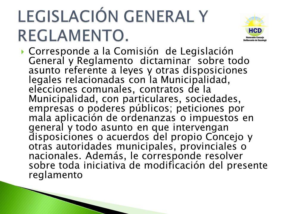 LEGISLACIÓN GENERAL Y REGLAMENTO.
