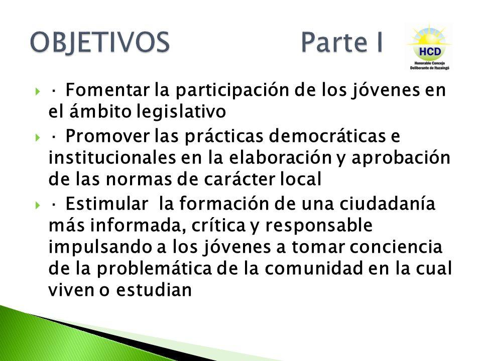 OBJETIVOS Parte I · Fomentar la participación de los jóvenes en el ámbito legislativo.