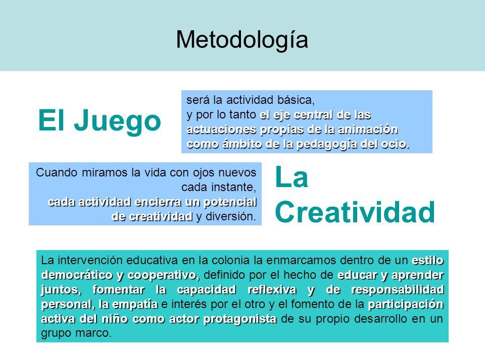 El Juego La Creatividad Metodología será la actividad básica,