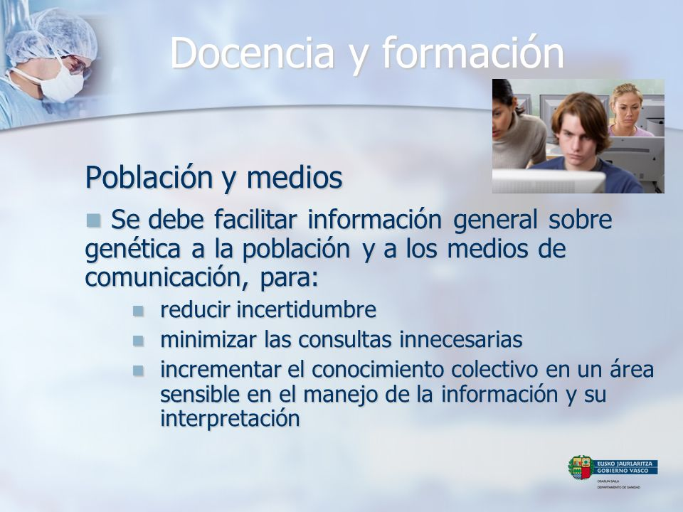 Docencia y formación Población y medios