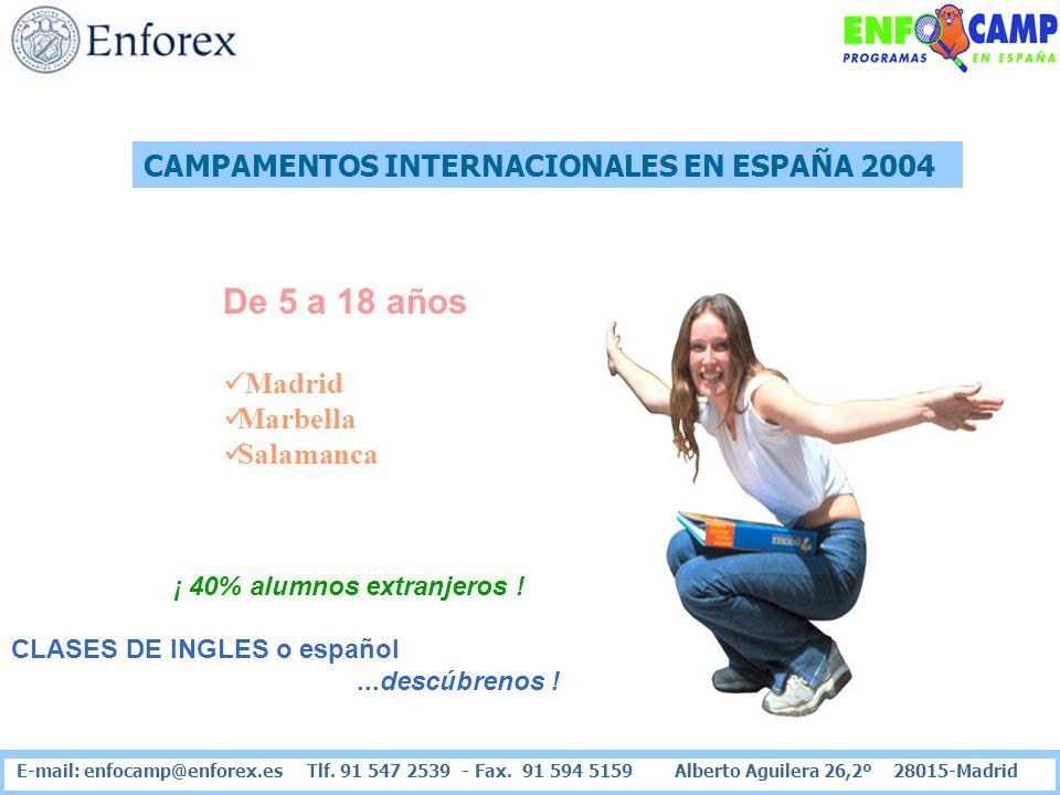 CAMPAMENTOS INTERNACIONALES EN ESPAÑA 2004