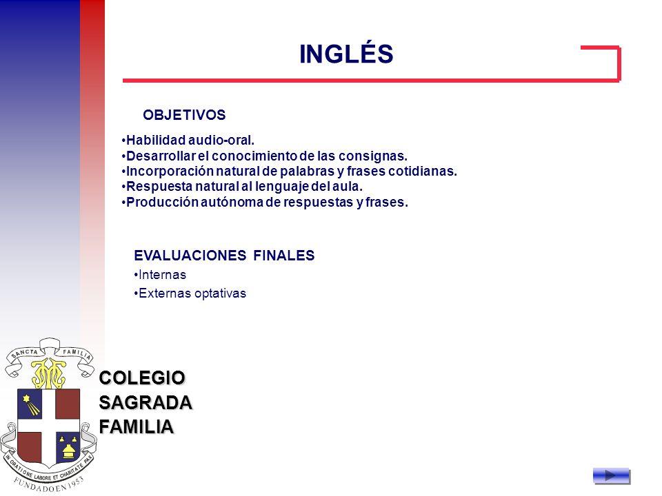 INGLÉS OBJETIVOS EVALUACIONES FINALES Habilidad audio-oral.