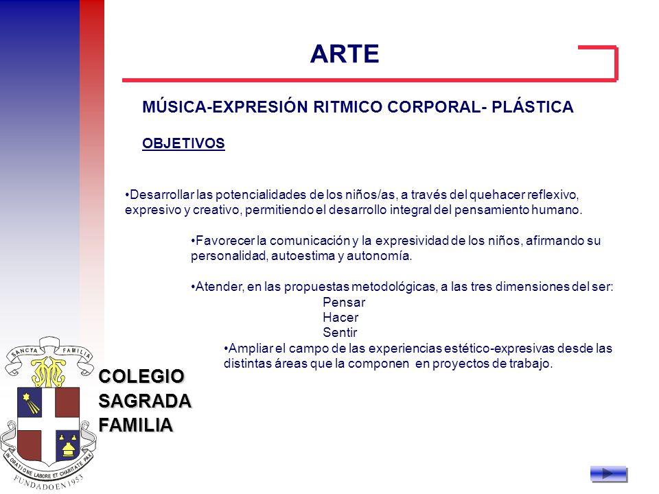 ARTE MÚSICA-EXPRESIÓN RITMICO CORPORAL- PLÁSTICA OBJETIVOS