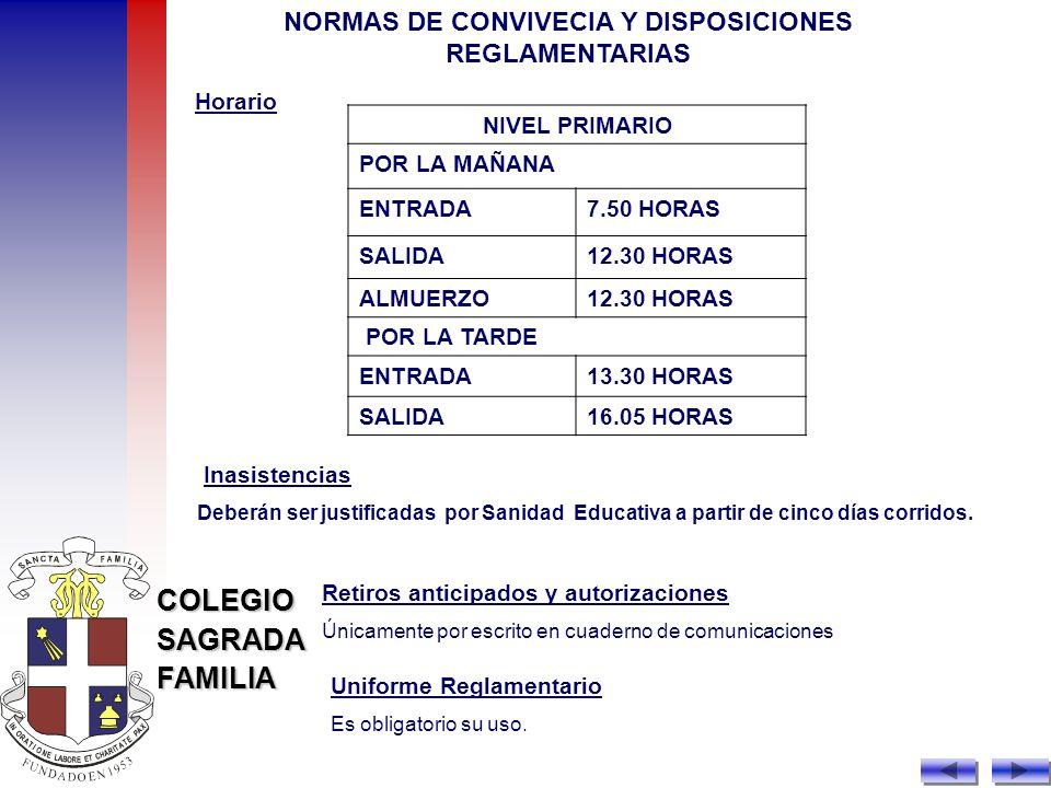 NORMAS DE CONVIVECIA Y DISPOSICIONES REGLAMENTARIAS