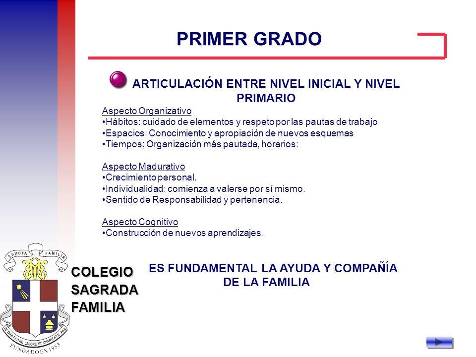 PRIMER GRADO ARTICULACIÓN ENTRE NIVEL INICIAL Y NIVEL PRIMARIO
