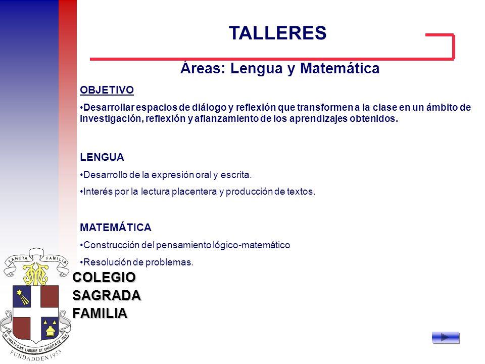 Áreas: Lengua y Matemática