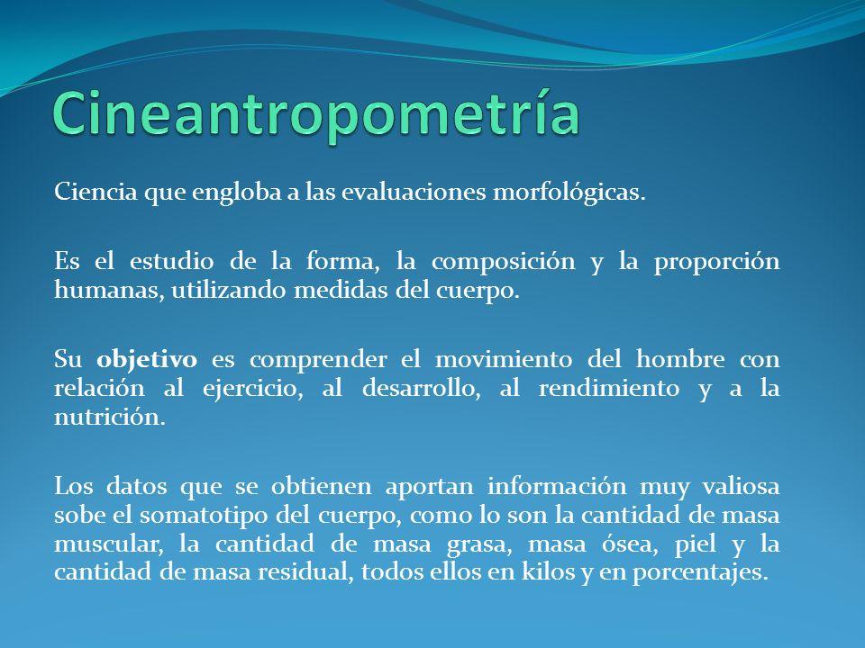 Cineantropometría Ciencia que engloba a las evaluaciones morfológicas.