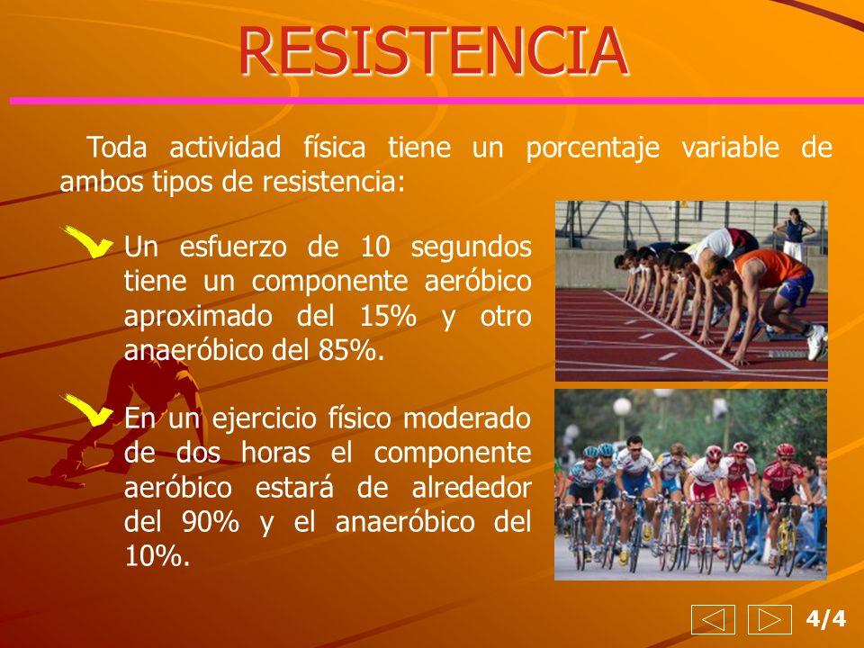 RESISTENCIA Toda actividad física tiene un porcentaje variable de ambos tipos de resistencia: