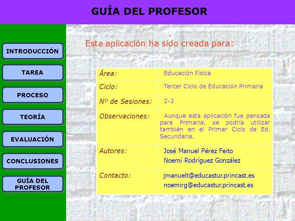 GUÍA DEL PROFESOR Esta aplicación ha sido creada para: Área: Ciclo: