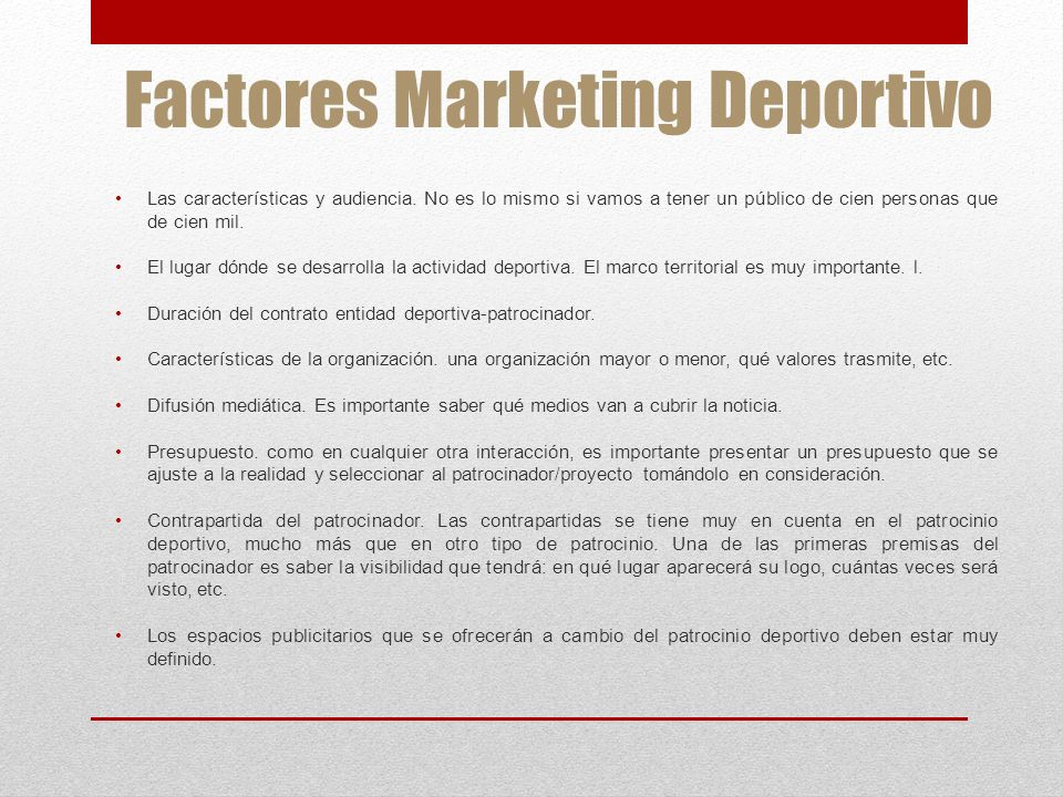 Factores Marketing Deportivo