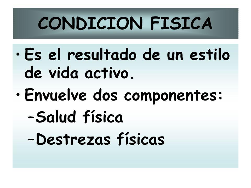 CONDICION FISICA Es el resultado de un estilo de vida activo.