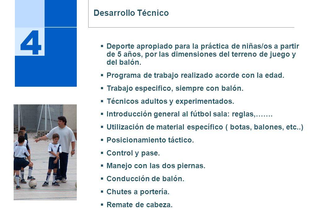 Desarrollo Técnico 4. Deporte apropiado para la práctica de niñas/os a partir de 5 años, por las dimensiones del terreno de juego y del balón.
