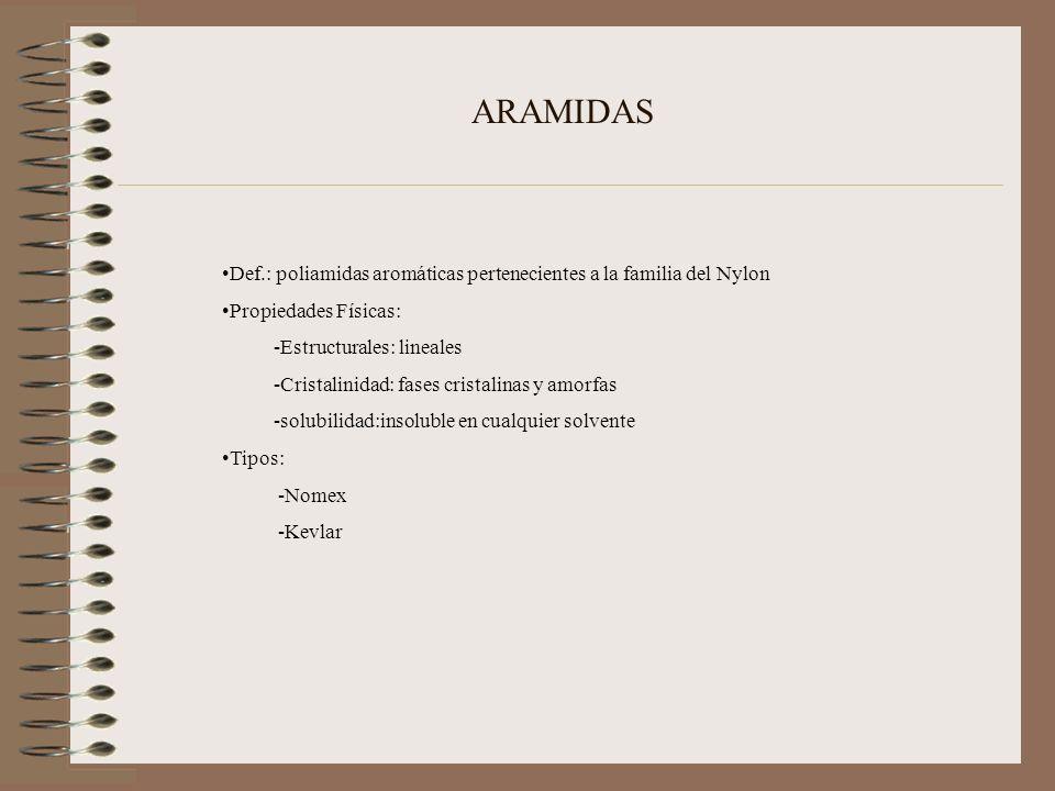 ARAMIDAS Def.: poliamidas aromáticas pertenecientes a la familia del Nylon. Propiedades Físicas: -Estructurales: lineales.
