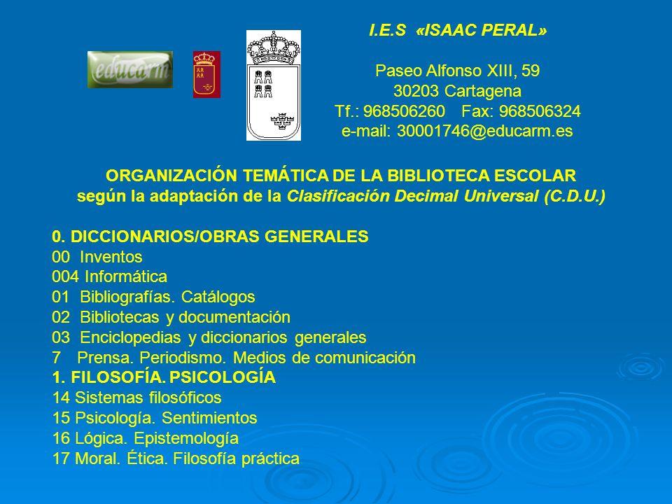 ORGANIZACIÓN TEMÁTICA DE LA BIBLIOTECA ESCOLAR
