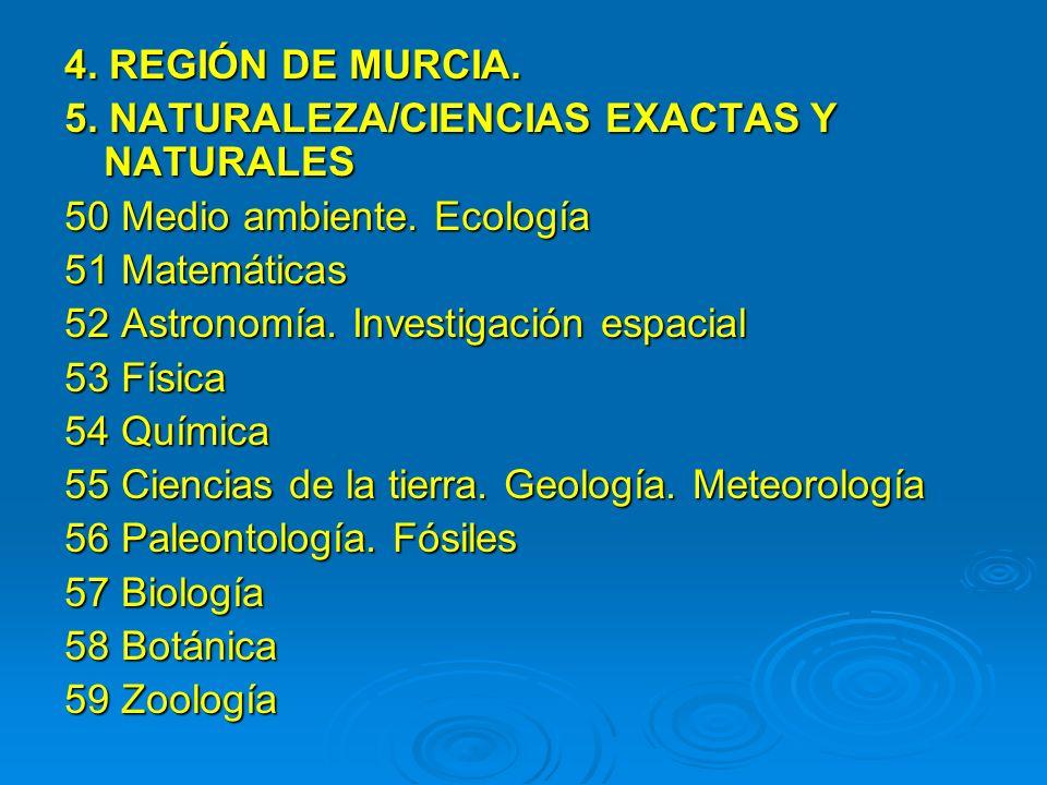 4. REGIÓN DE MURCIA. 5. NATURALEZA/CIENCIAS EXACTAS Y NATURALES. 50 Medio ambiente. Ecología. 51 Matemáticas.