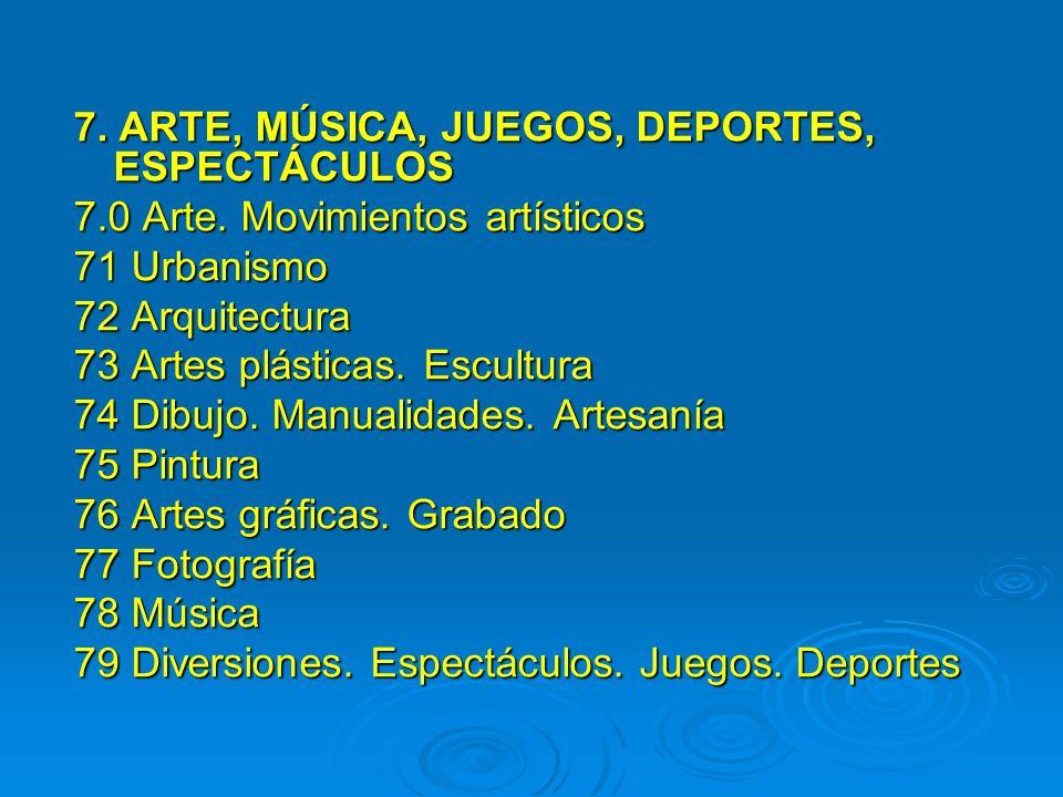 7. ARTE, MÚSICA, JUEGOS, DEPORTES, ESPECTÁCULOS