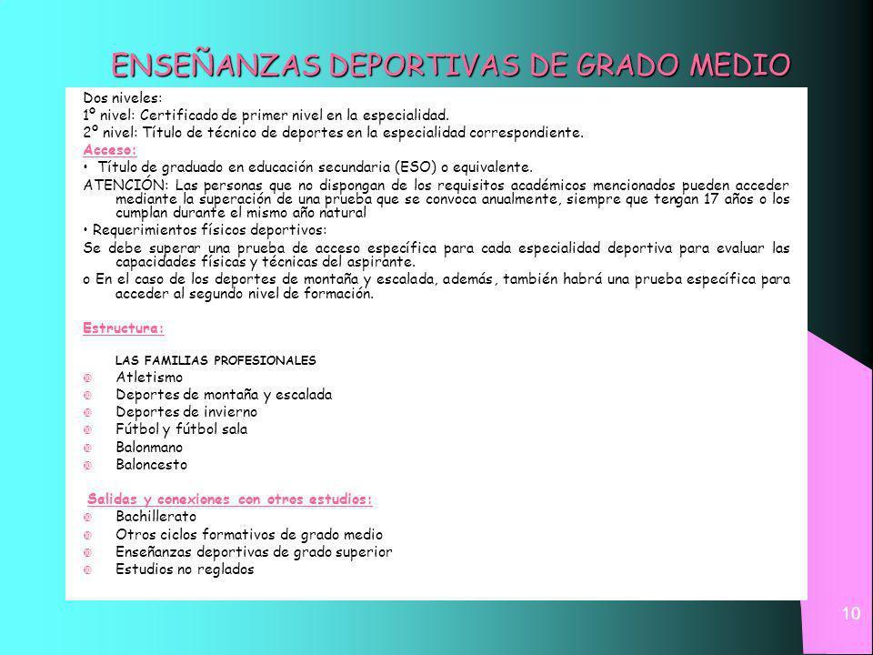 ENSEÑANZAS DEPORTIVAS DE GRADO MEDIO