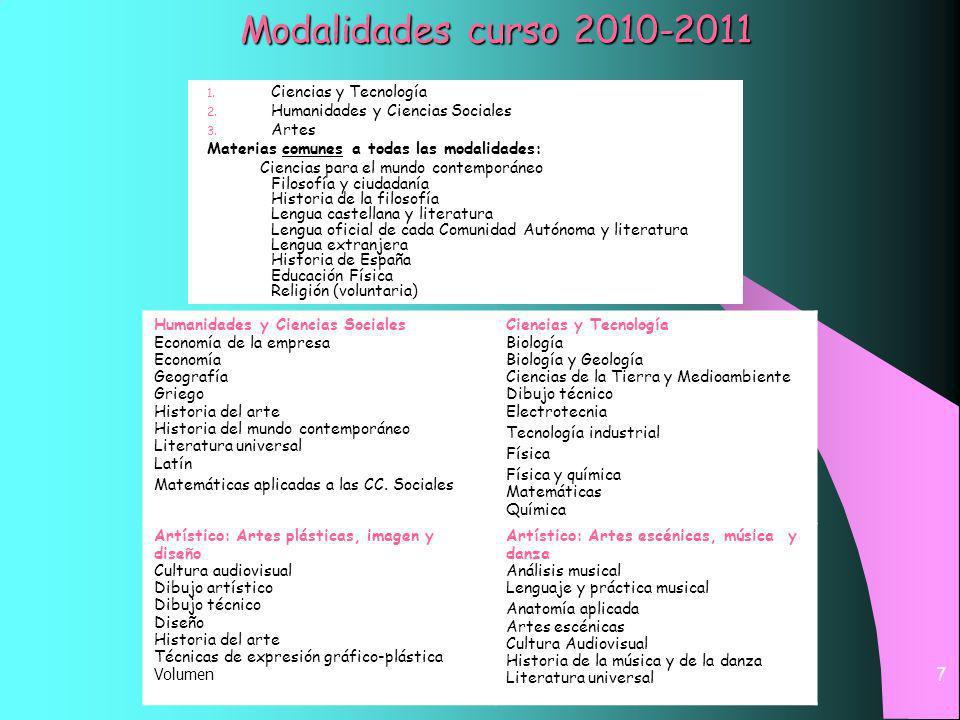 Modalidades curso 2010-2011 Ciencias y Tecnología