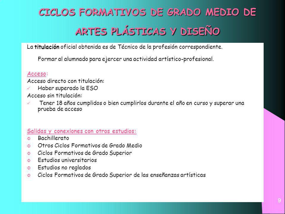 CICLOS FORMATIVOS DE GRADO MEDIO DE ARTES PLÁSTICAS Y DISEÑO