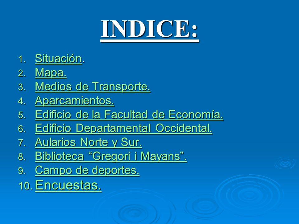 INDICE: Encuestas. Situación. Mapa. Medios de Transporte.