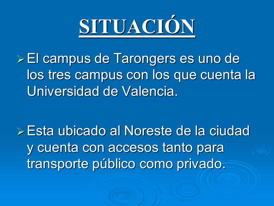 SITUACIÓN El campus de Tarongers es uno de los tres campus con los que cuenta la Universidad de Valencia.
