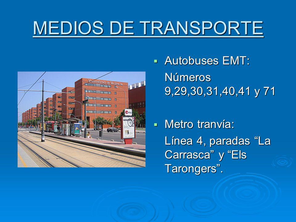 MEDIOS DE TRANSPORTE Autobuses EMT: Números 9,29,30,31,40,41 y 71