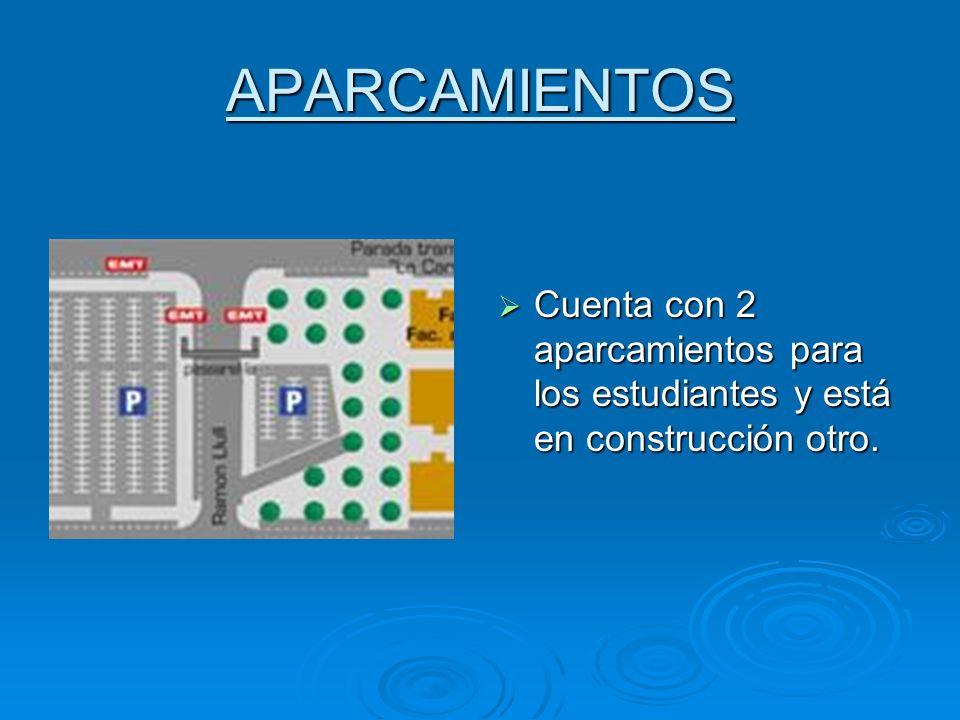 APARCAMIENTOS Cuenta con 2 aparcamientos para los estudiantes y está en construcción otro.