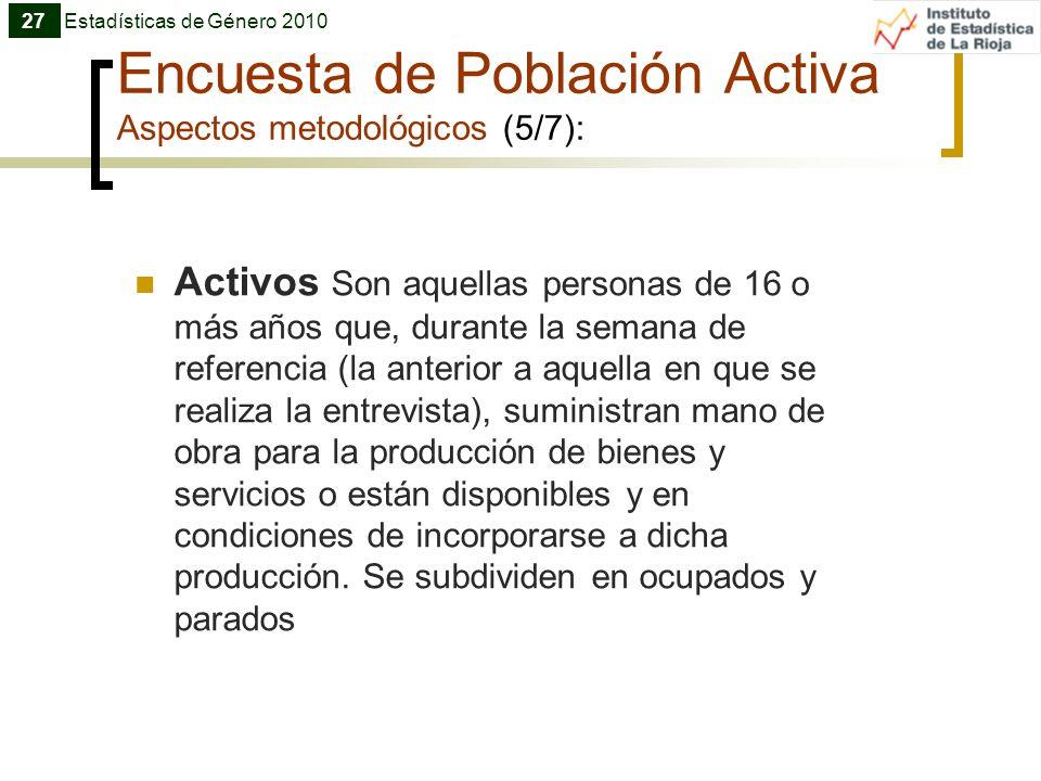 Encuesta de Población Activa Aspectos metodológicos (5/7):