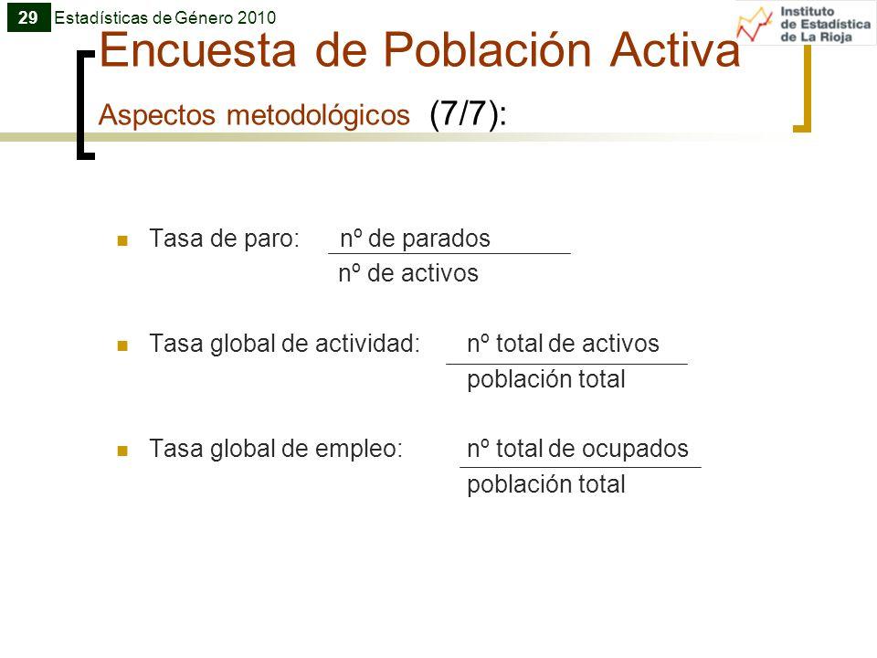 Encuesta de Población Activa Aspectos metodológicos (7/7):