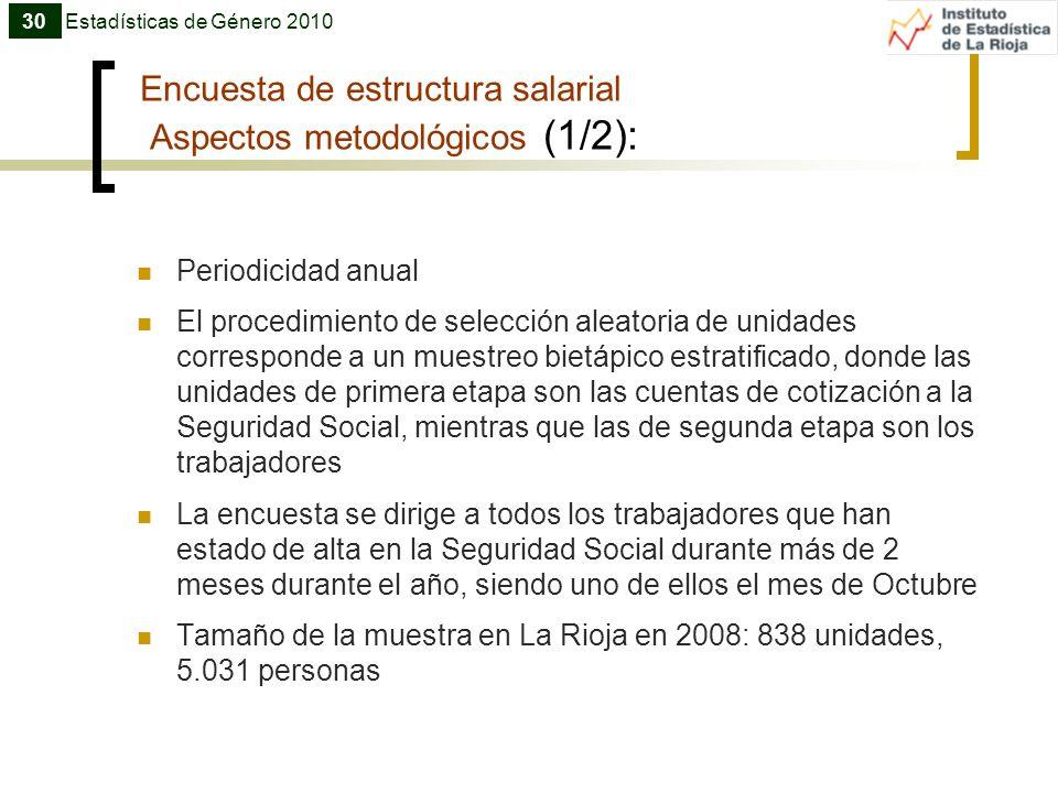 Encuesta de estructura salarial Aspectos metodológicos (1/2):