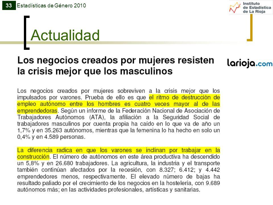 33 Estadísticas de Género 2010 Actualidad